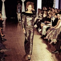 Design by Mark Roscoe shown at Next Fashion 2012 runway show at Germania Place during Fashion Focus Week Chicago.
