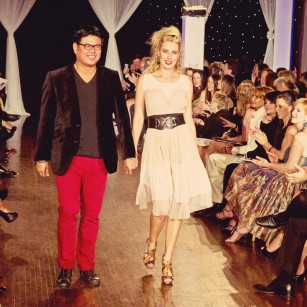 Jon Cotay owner of Akira with model at Next Fashion 2012 runway show at Germania Place during Fashion Focus Week Chicago.